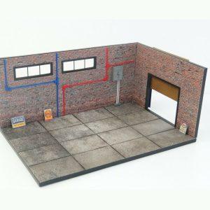 Display Brick Garage Diorama Model Kit in Scale 1:18